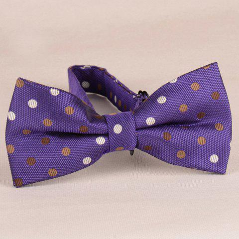 Stylish Polka Dot Pattern Men's Purple Bow Tie - PURPLE