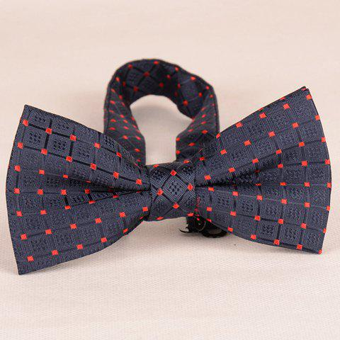 Stylish Latticed Pattern Deep Blue Bow Tie For Men