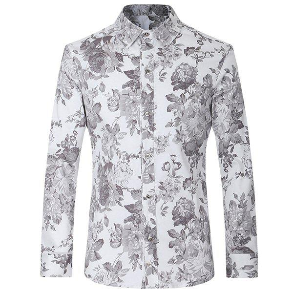 Turn-Down Collar Floral Printed Slimming Long Sleeve Men's Shirt