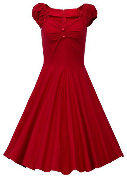 Vintage Short Sleeve V Neck Pure Color Women's Midi Dress - RED L
