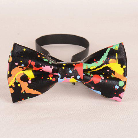 Stylish Colorful Splash-Ink Pattern Men's PU Bow Tie - BLACK