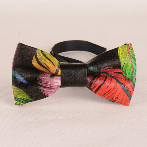 Stylish Feather Pattern Colored PU Bow Tie For Men