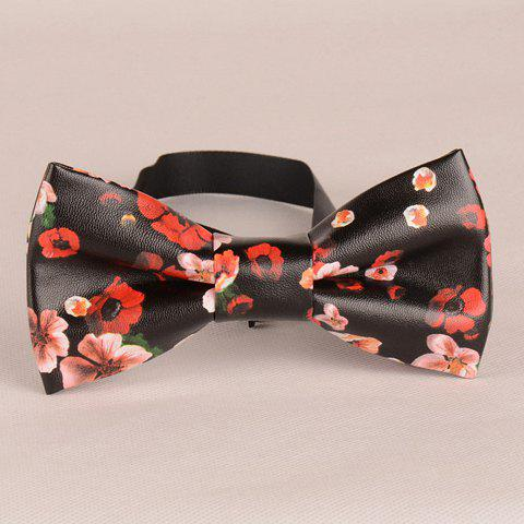 Stylish Flower Pattern PU Bow Tie For Men