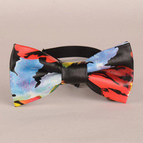Stylish Colored Tie-Dyed Pattern Men's PU Bow Tie - BLACK