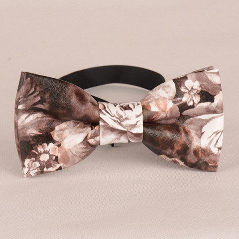 Stylish Flower Pattern Retro Men's PU Bow Tie - DEEP BROWN