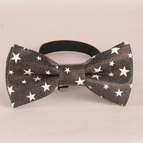 Stylish Five-Pointed Star Pattern Men's PU Bow Tie - DEEP GRAY