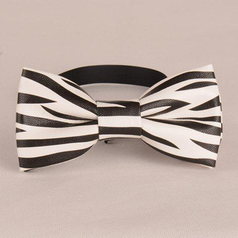 Stylish White and Black Zebra Stripe Pattern Men's PU Bow Tie black and white stripe pattern t shirt