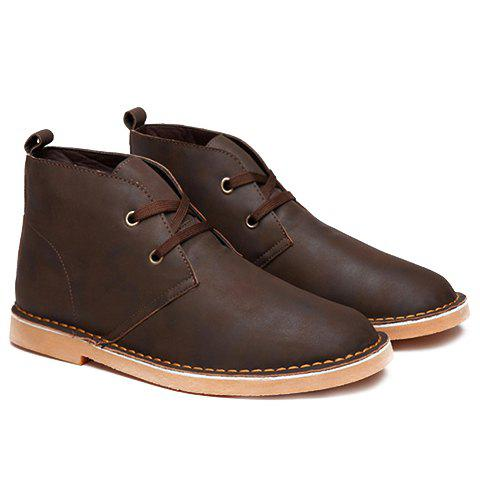 Simple Lace-Up and Drak Color Design Boots For Men - BROWN 42