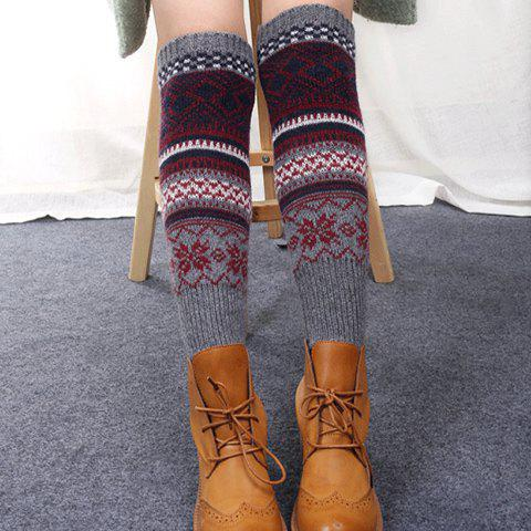 Pair of Chic Rhombus and Snowflake Pattern Women's Knitted Leg Warmers - RANDOM COLOR