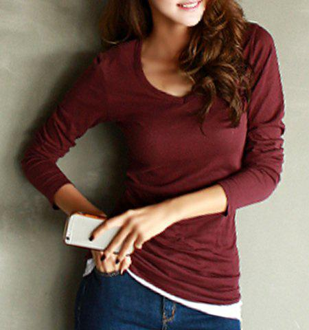 Simple V-Neck Long Sleeve Slimming Solid Color Women's T-Shirt - WINE RED M