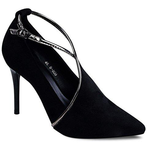 Sexy Stiletto Heel and Flock Design Women's Pumps - BLACK 39