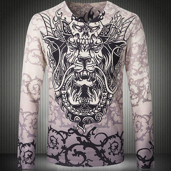 V-Neck 3D Dragon Print Long Sleeve Slimming Men's T-Shirt