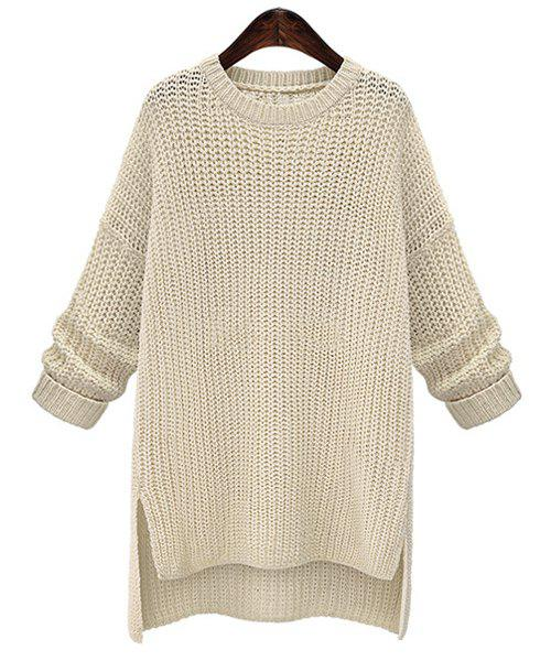 Refreshing Candy Color Round Neck Openwork Long Sleeve Sweater For Women - IVORY WHITE ONE SIZE(FIT SIZE XS TO M)