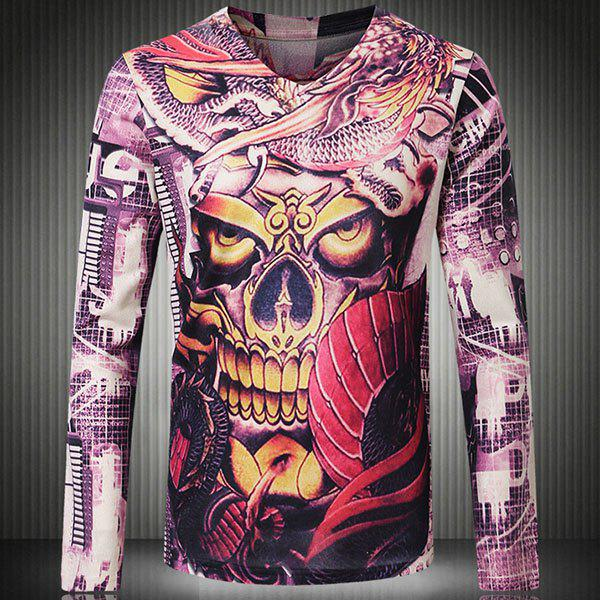 Round Neck Colorful 3D Skull Print Long Sleeve Slimming Men's T-Shirt - COLORMIX M