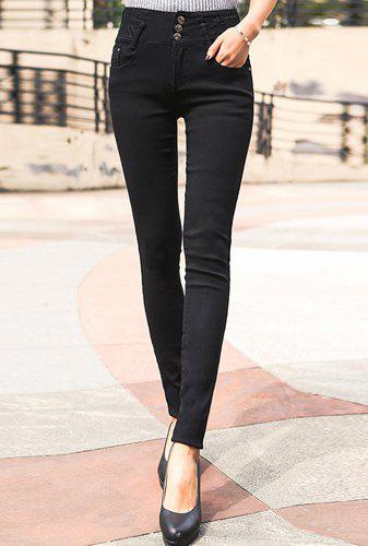 Stylish High-Waisted Button Design Slimming Women's Pants - BLACK 27