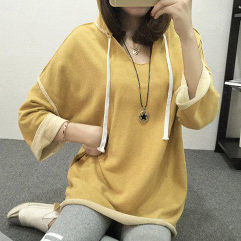Stylish Hooded Solid Color Long Sleeve Dress For Women - YELLOW XL