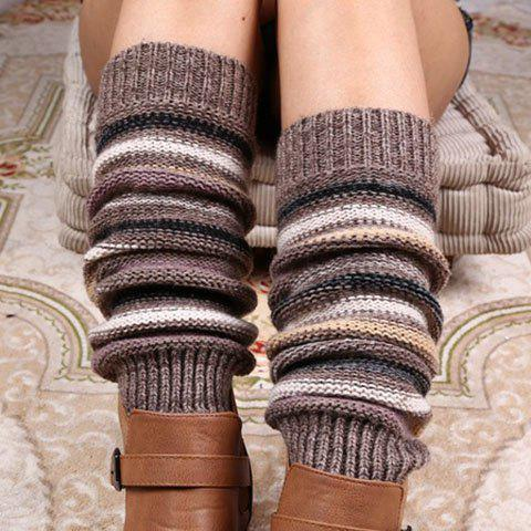 Pair of Chic Multicolor Stripe Pattern Women's Knitted Leg Warmers - RANDOM COLOR