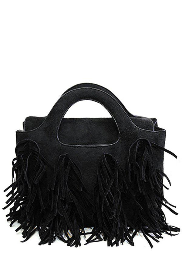Fashion Tassel and Suede Design Women's Tote Bag - BLACK