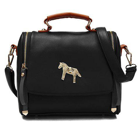 Trendy Pony Pattern and Metal Design Tote Bag For Women - BLACK