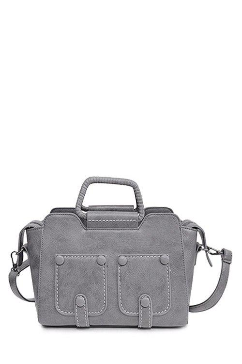 Retro Button and Stitching Design Women's Crossbody Bag - GRAY