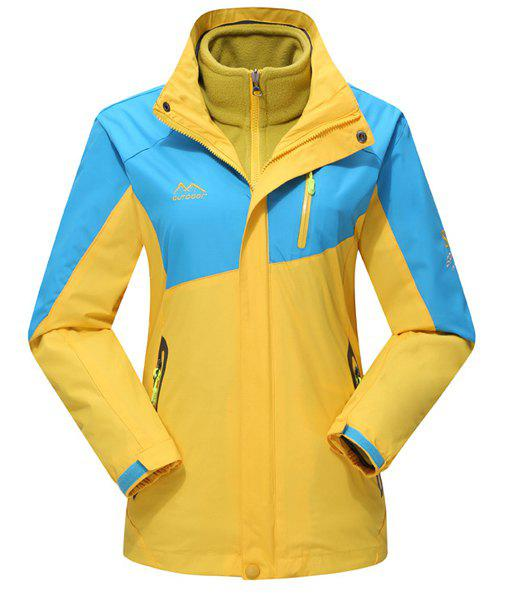 Sports Hooded Color Spliced Multi-Zipper French Front Fitted Long Sleeves Men's Twinset Ski Jacket - YELLOW L