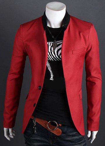 Color Block Stand Collar Patch Pocket Side Slit Slimming Long Sleeves Men's Single-Breasted Blazer - RED 2XL