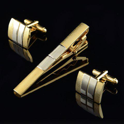A Suit of Trendy Alloy Color Block Square Rectangle Cufflinks For Men - GOLDEN