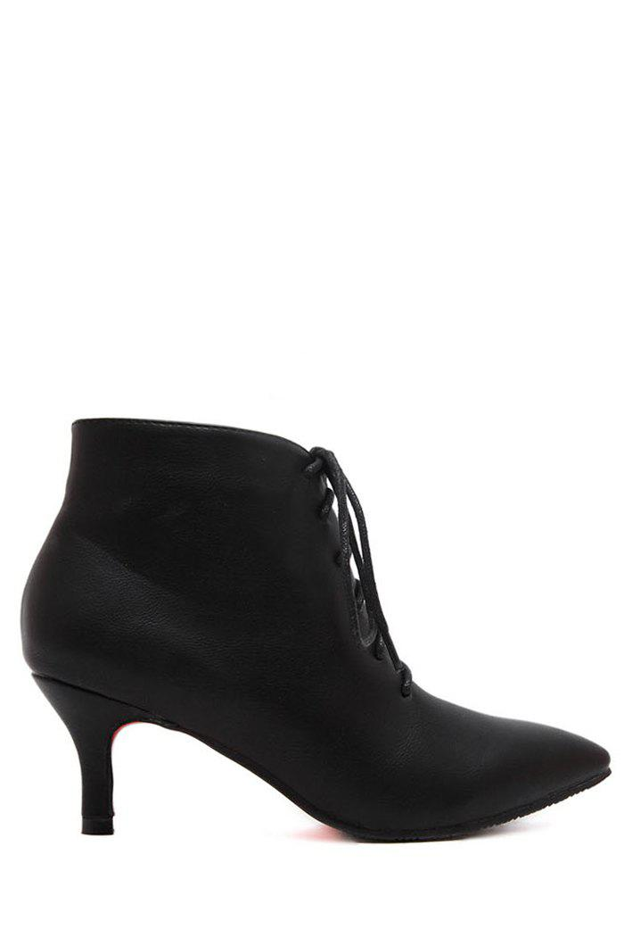 Stylish Solid Color and Pointed Toe Design Women's Ankle Boots - BLACK 38