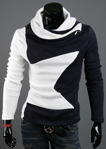 Five-Pointed Star Pattern Color Block Slimming Heaps Collar Long Sleeves Men's Thicken Sweater - WHITE L