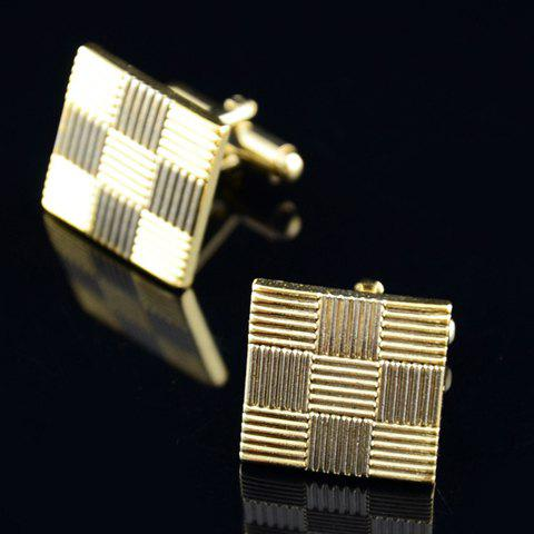 Pair of Delicate Color Block Square Shape Cufflinks For Men - GOLDEN