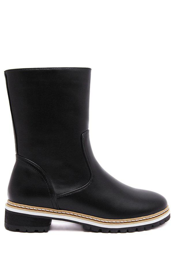 Concise Solid Color And PU Leather Design Womens Mid Calf