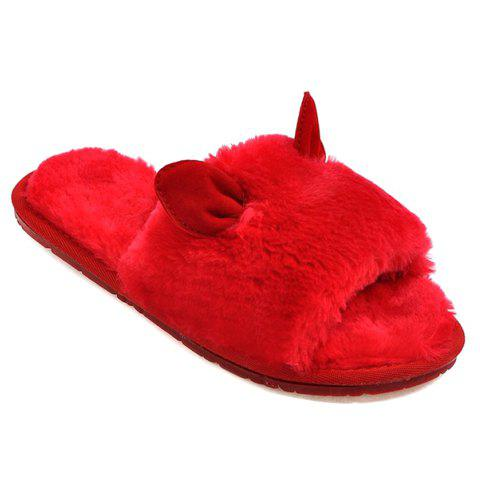 Cute Ears and Solid Color Design Women's Slippers