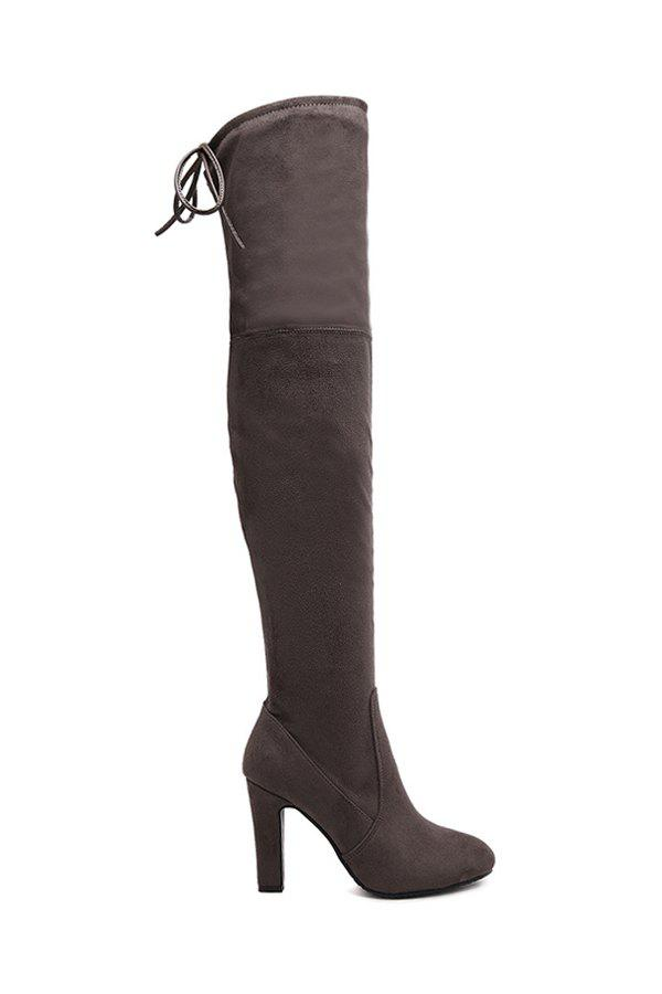 Stylish Suede and Chunky Heel Design Women's Thigh Boots - COFFEE 37