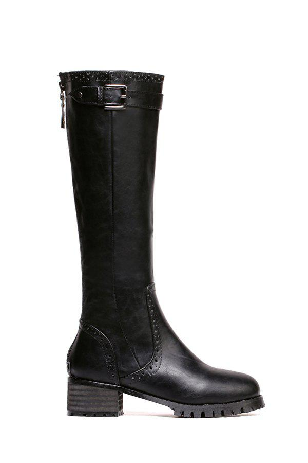 Trendy Engraving and Buckle Design Women's Mid-Calf Boots