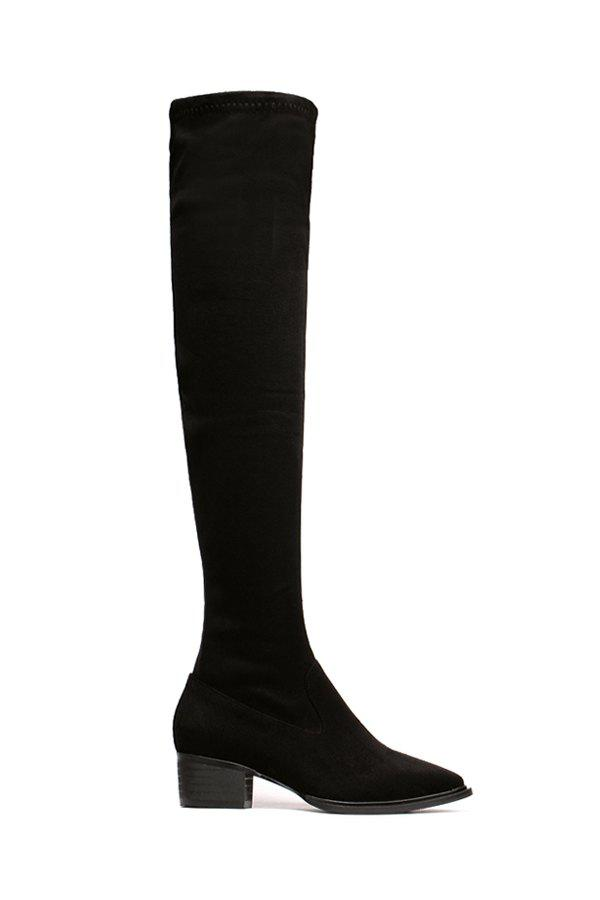 Trendy Suede and Pointed Toe Design Women's Thigh Boots - BLACK 37