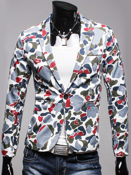 One Button Single-Breasted Patch Pocket Back Slit Slimming Lapel Long Sleeves Men's Camo Blazer - BLUE L