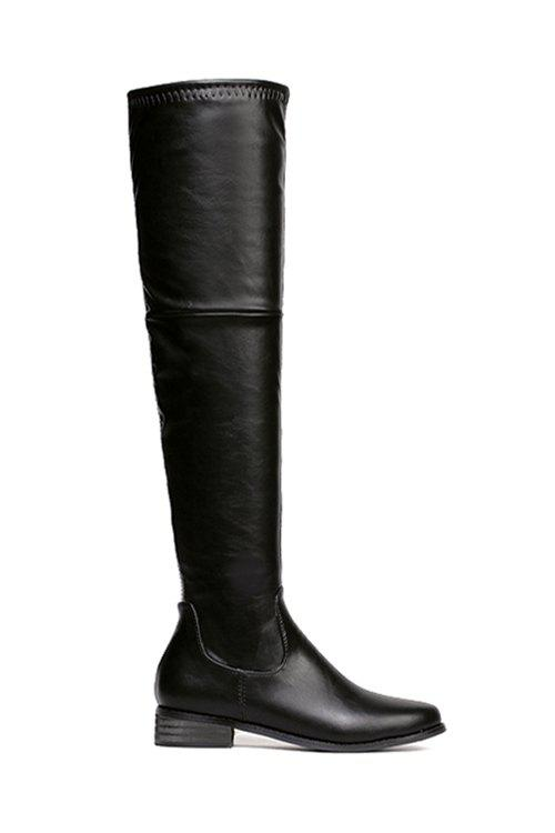 Stylish Black and PU Leather Design Women's Thigh Boots - BLACK 37