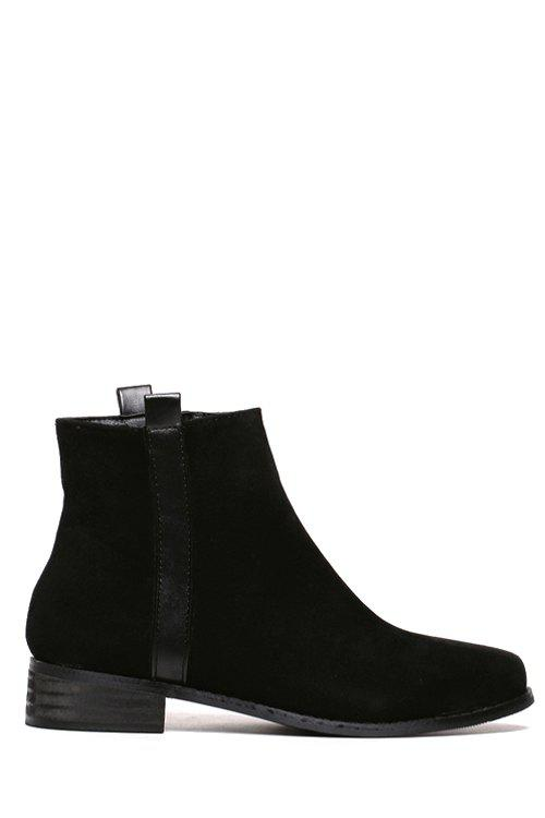 Concise Suede and Solid Color Design Women's Ankle Boots - BLACK 38