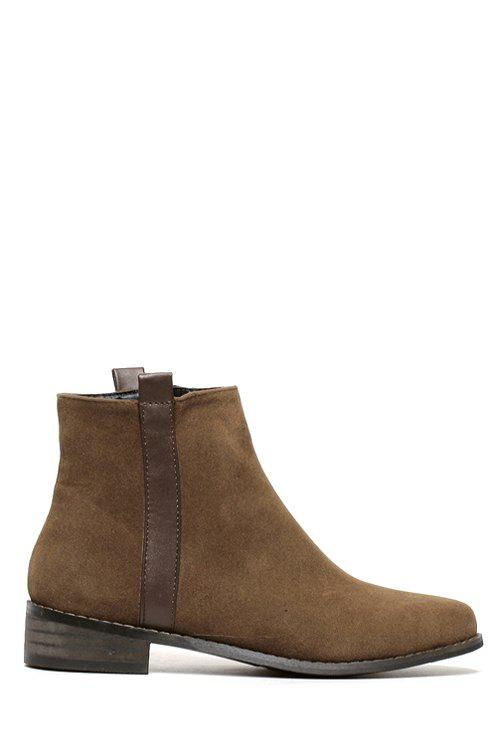 Concise Suede and Solid Color Design Women's Ankle Boots - BROWN 38