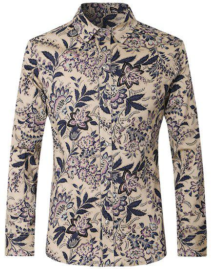 Flower Print Turn-Down Collar Long Sleeve Slimming Men's Shirt - COLORMIX L