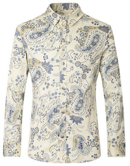 Turn-Down Collar Long Sleeve Slimming Men's Paisley Shirt - COLORMIX XL