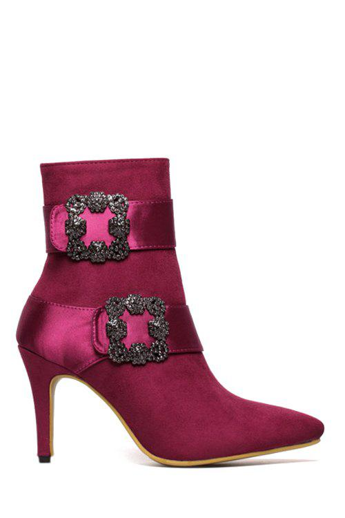 Gorgeous Square Buckle and Suede Design Women's Short Boots - WINE RED 36