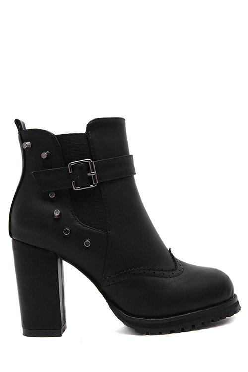 Vintage Rivet and Chunky Heel Design Women's Short Boots