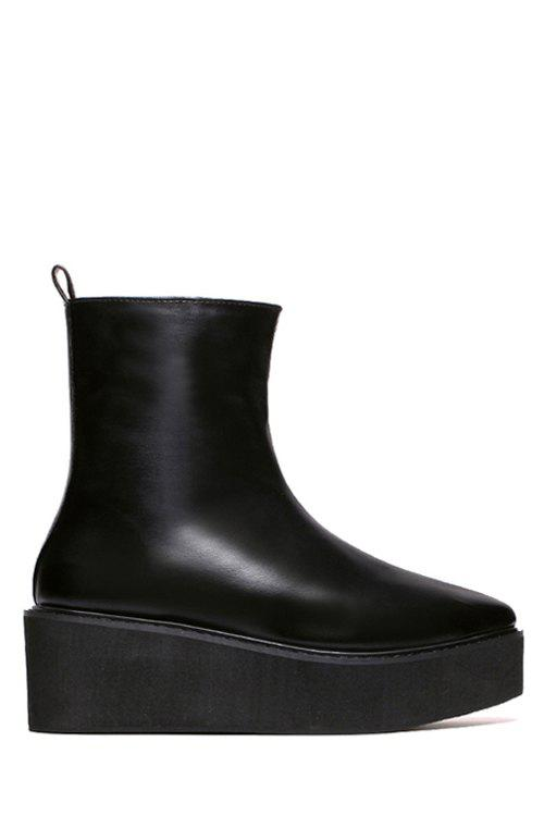 Sexy Platform and Pointed Toe Design Women's Short Boots - BLACK 36