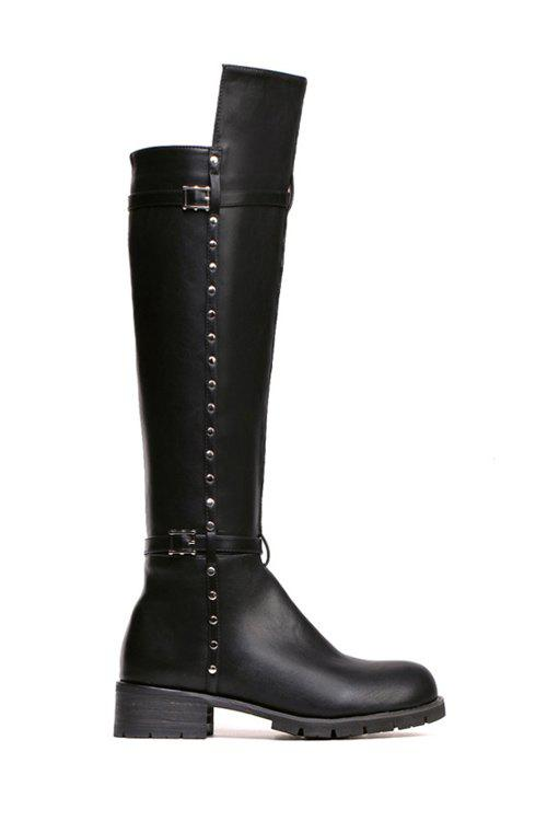 Trendy Rivet and Solid Color Design Women's Knee-High Boots - BLACK 39