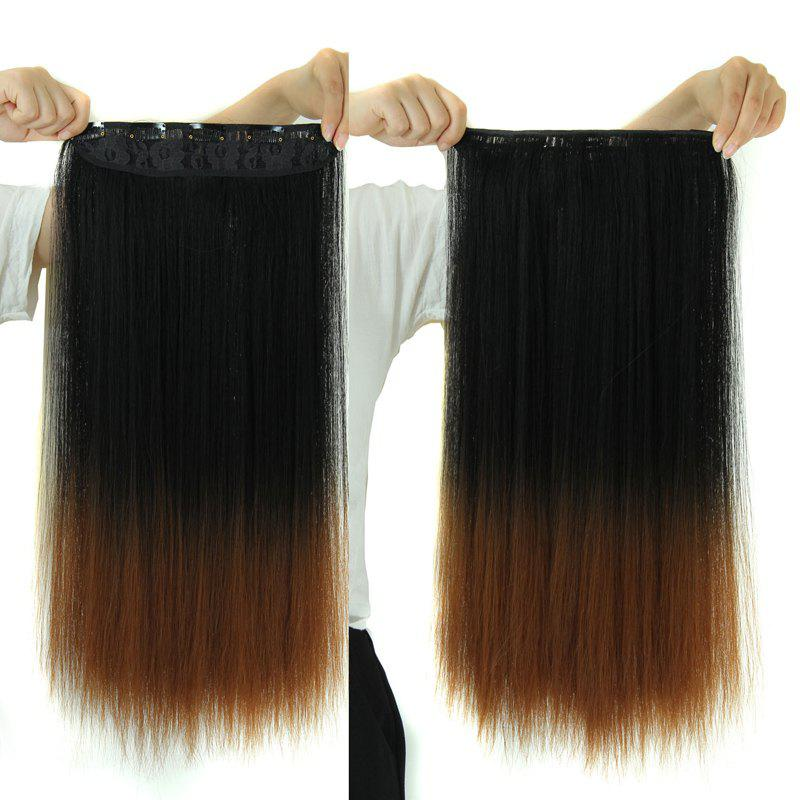 Fashion Silky Straight Synthetic Long Black Ombre Brown Clip-In Women's Hair Extension