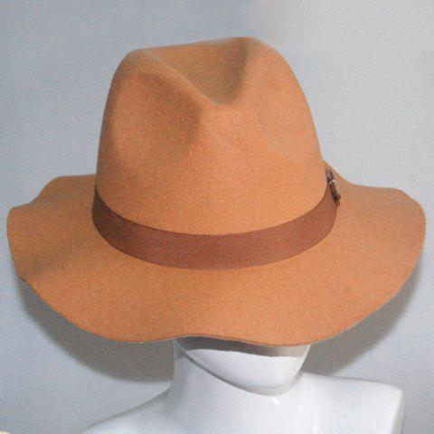 Chic Alloy Letter Label and Strappy Embellished Women's Felt Jazz Hat - CAMEL