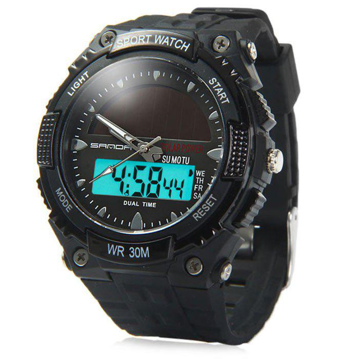 Sanda 719 Solar Power LED Dual Movt Multifunctional Sports Watch 2016 large buttons dual power solar