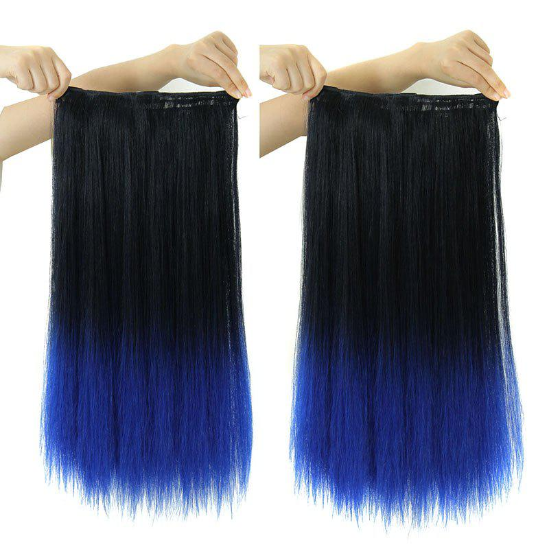 Vogue Long Synthetic Clip-In Two-Tone Ombre Capless Glossy Straight Women's Hair Extension - OMBER