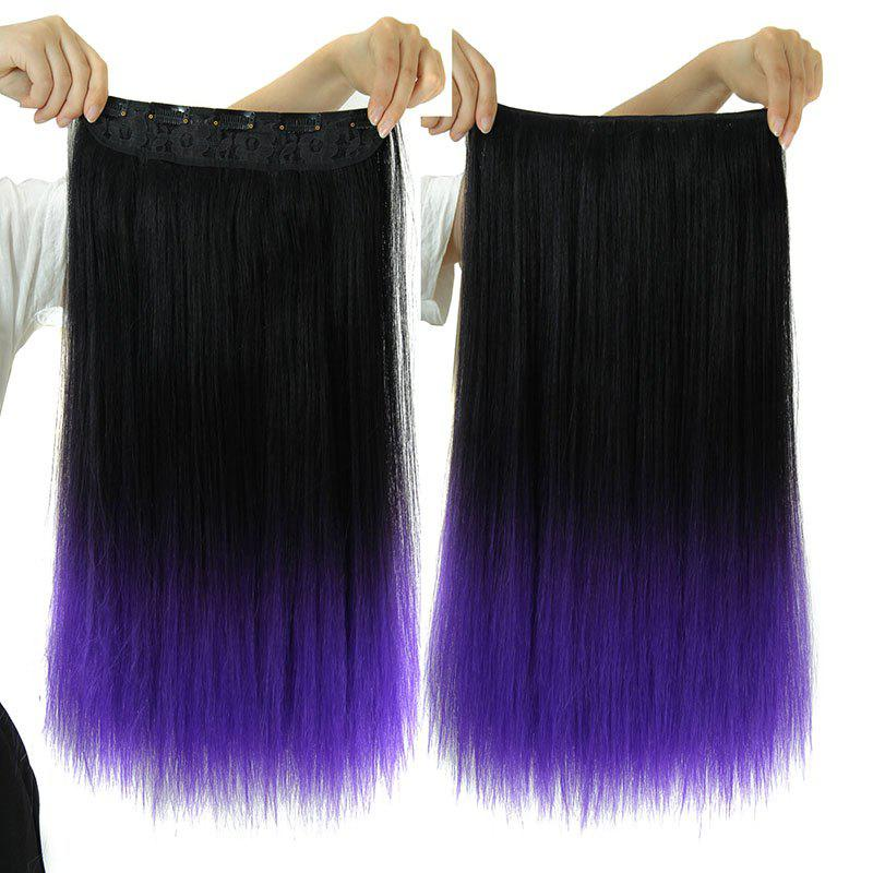 Vogue Long Synthetic Clip-In Two-Tone Ombre Capless Glossy Straight Women's Hair Extension - PURPLE 3700L